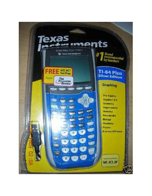 TI 84 Plus Silver Edition Blue Graphing Calculator